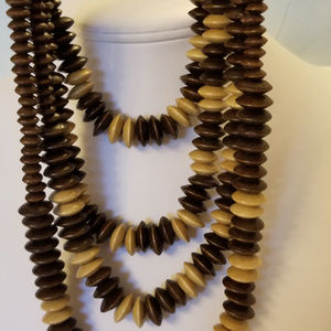 """NWT 4-Strand Wood Necklace 24""""-36"""""""